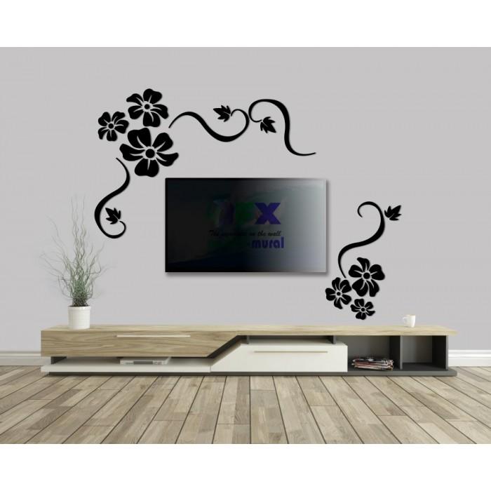 Tv Arkası Siyah Ayna Seti
