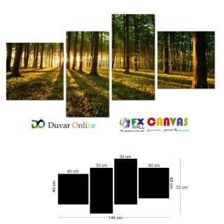Orman Ağaç Güneş Kanvas Tablo
