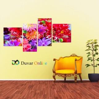 Rengarenk Çiçekler Kanvas Tablo