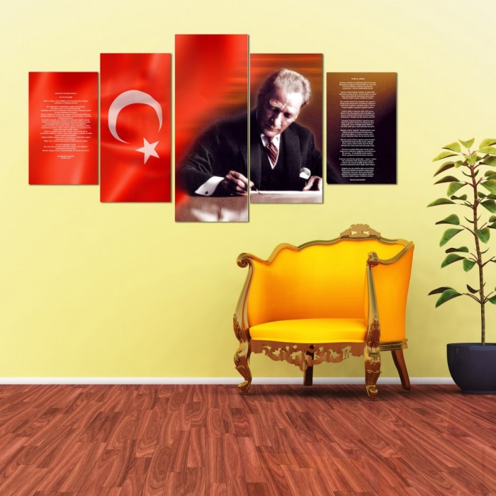 5 Parça Atatürk Kanvas Tablo