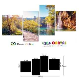 Şelale ve Nehir Kanvas Tablo