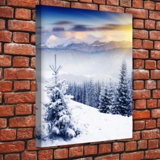 Karla Kaplı Dağların Ardından Gelen Güneş Kanvas Tablo