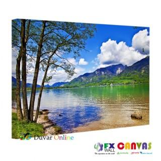 Manzara Yeşil Mavi Kanvas Tablo