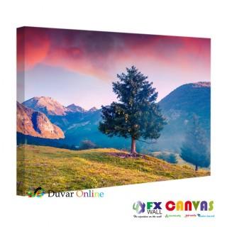 Tepe, Gün Batımı ve Ağaç Kanvas Tablo
