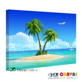 Palmiye Ağaçlı Deniz Kanvas Tablo