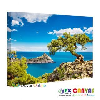 Akdeniz Deniz Kıyısında Ağaç Kanvas Tablo