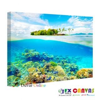 Suyun altından çekilmiş tropik ada kanvas tablosu