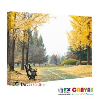 Sarı Yeşil Park ve Bank Kanvas Tablo