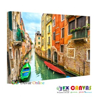 Venedik - Kanalda Gondol Kanvas Tablo