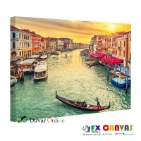 A103-007 Venedik'te Gün Batımı Kanvas Tablo