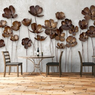 Bakır Çiçekler Duvar Kağıdı
