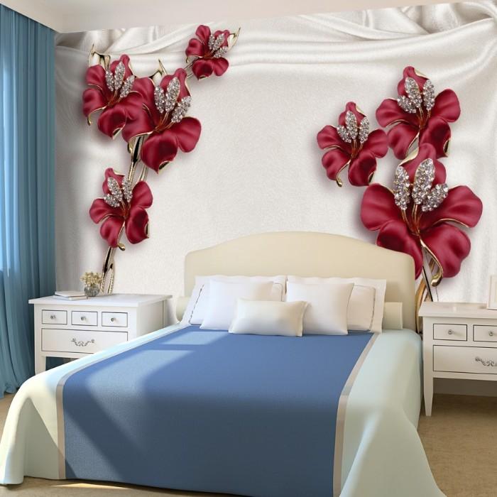 3D Bordo Çiçekli Duvar Kağıdı
