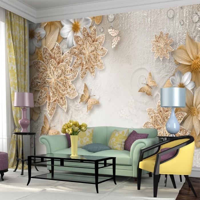 Yapraklar Kelebekler Duvar Kağıdı