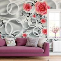 Halkalar ve Güller 3D Duvar Kağıdı N672-2