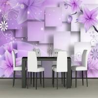 3D Mor Çiçekler Duvar Kağıdı