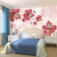 3D Kırmızı Çiçekler Duvar Kağıdı
