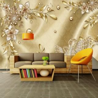 3D Gül Mücevher Duvar Kağıdı