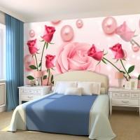 3D Güller ve İnciler Duvar Kağıdı