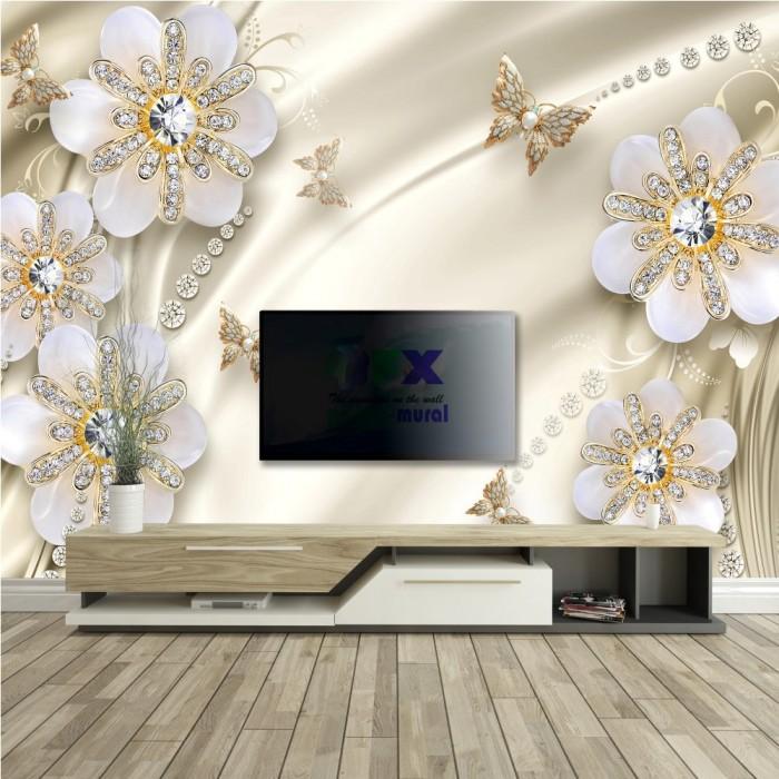 3D Çiçekler Fon Duvar Posteri