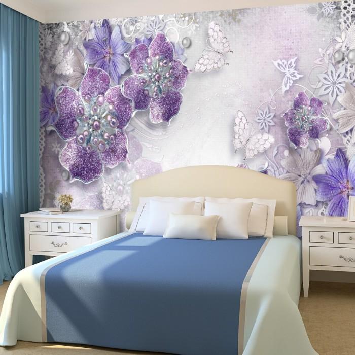 3D Çiçekler Duvar Kağıdı