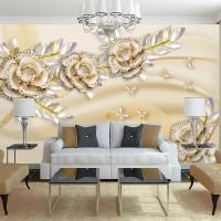 3D Taşlı Çiçekler Duvar Kağıdı