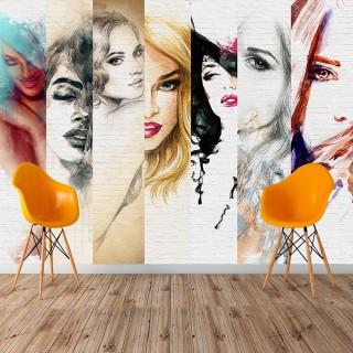 Bayan Kuaförü Yüzler - Duvar Kağıdı