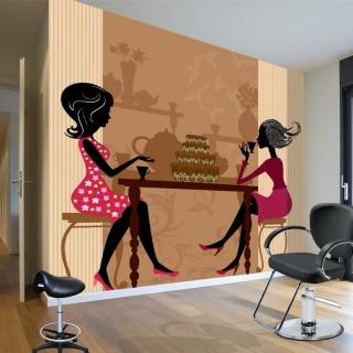 Kahve İçen Kadınlar Siluet Duvar Posteri