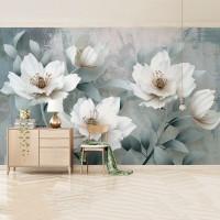 3D Efektli Yapraklar ve Çiçekler Duvar Kağıdı