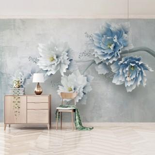 3D Efektli Büyük Çiçekler Duvar Kağıdı