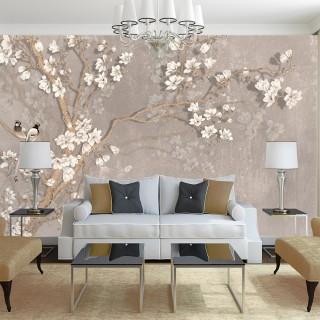 3D Efektli Ağaç Dalı Duvar Kağıdı