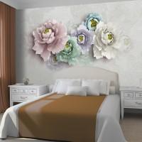 Soft Renkler ile Duvarda Çiçekler Duvar Kağıdı