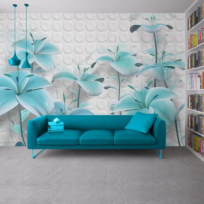 3D Efektli Çiçekler Duvar Kağıdı