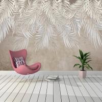 Tavandan Sarkan Yapraklar Duvar Kağıdı - Bej
