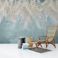 Tavandan Sarkan Yapraklar Duvar Kağıdı - Mavi