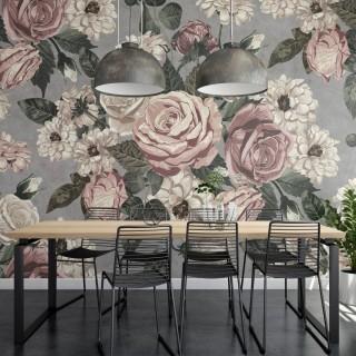 Sıva Duvarda Çiçekler - Gri Zemin