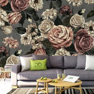 Sıva Duvarda Çiçekler - Koyu Gri Zemin