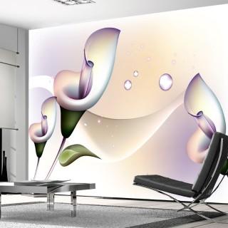 3D Çiçek Figürlü Duvar Kağıdı