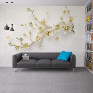 Metal Çiçek Dalı Duvar Kağıdı