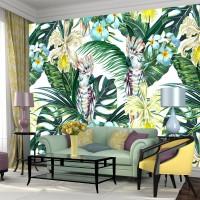 3D Papağan ve Yapraklar Duvar Posteri