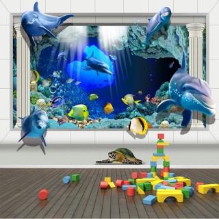 3D Yunuslar Sualtı Duvar Kağıdı