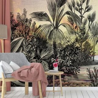 Çizim Tropikal Manzara Duvar Kağıdı 01