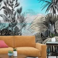 Çizim Tropikal Manzara Duvar Kağıdı 02