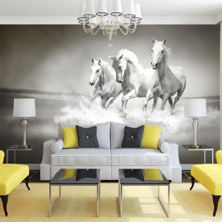 Beyaz Atlar 3D Duvar Kağıdı