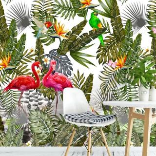 Amazon Flamingo Tropikal Yapraklar Duvar Kağıdı