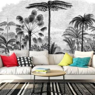 Çizim Tropikal Ağaçlar Duvar Kağıdı