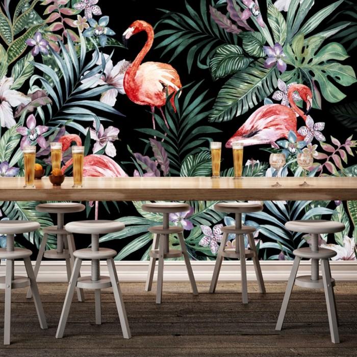 Flamingo Duvar Posteri Koyu Zemin