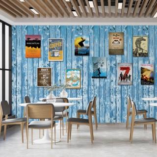 Ahşap Duvardaki Posterler Duvar Kağıdı