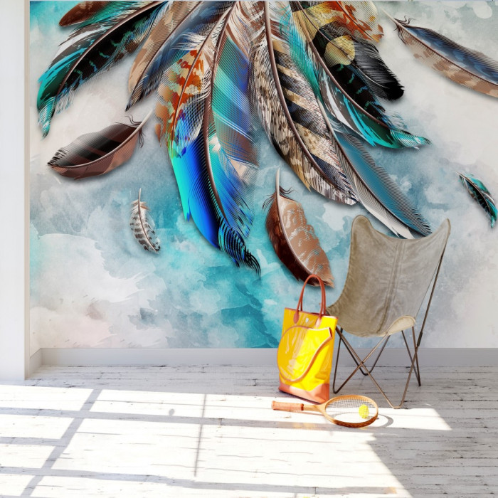 3D Kuş Tüyleri Duvar Posteri