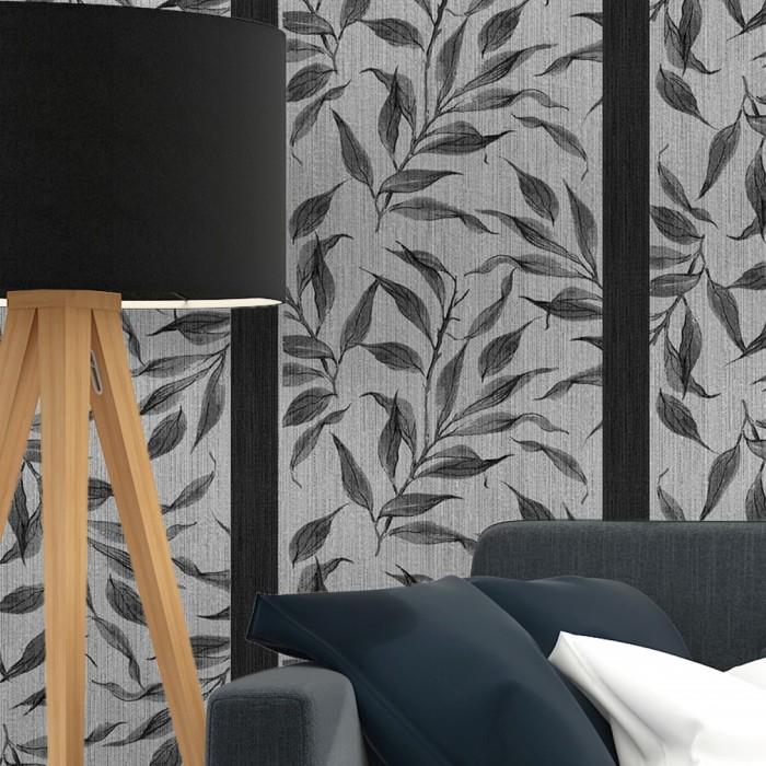 Sarmaşık Yaprakları Çizgili Duvar Kağıdı Gri