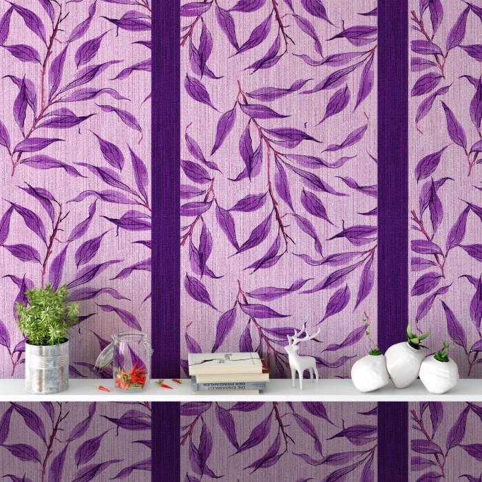 Sarmaşık Yaprakları Çizgili Duvar Kağıdı Leylak